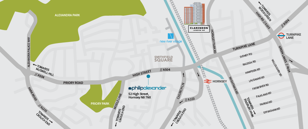 Clarendon N8 Location Map